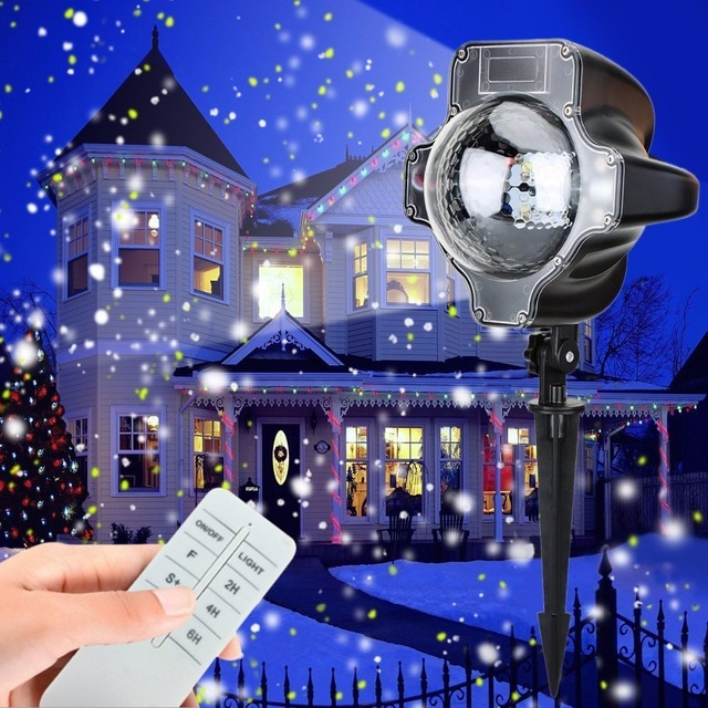 Snowfall LED Lights, Christmas waterproof Rotating Fairy Snowflake Projector Lamp, White Snow Projection Light