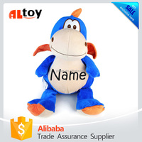 Personalized Stuffed Blue Dragon with Embroidered Name