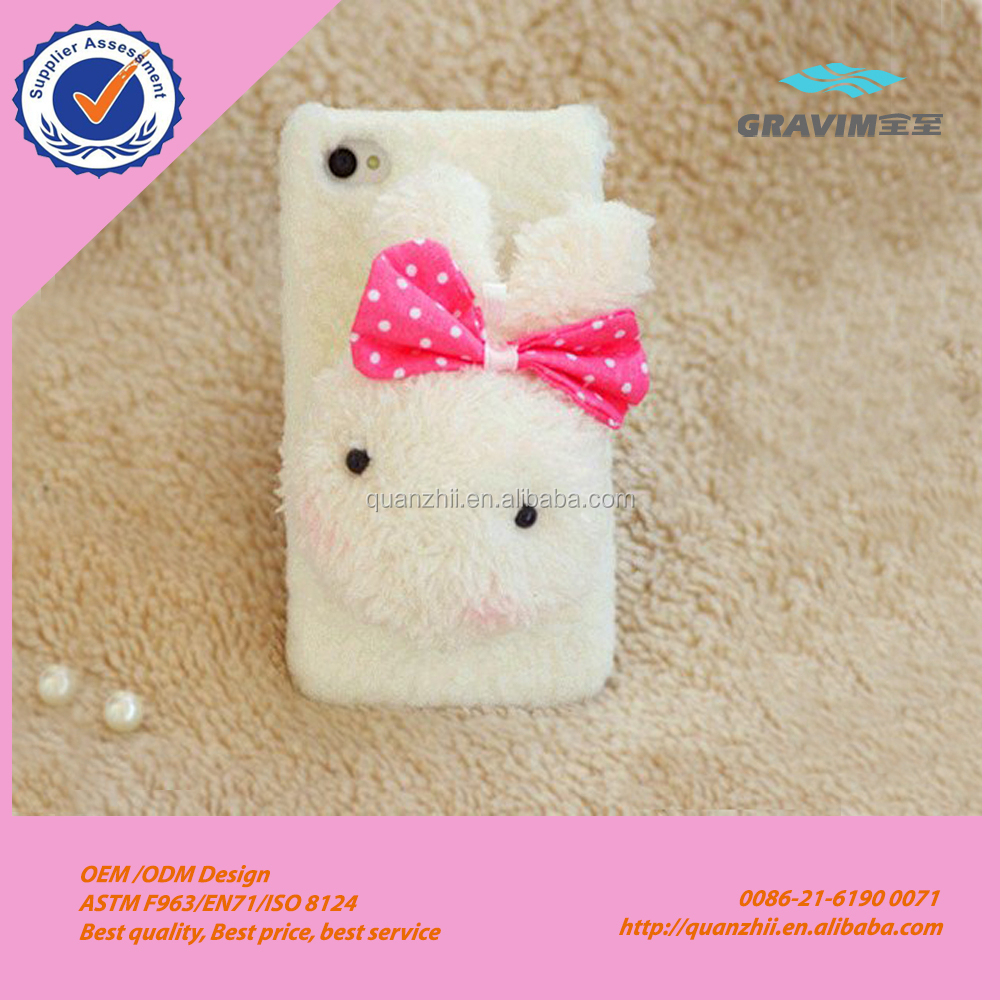 Wholesale cute white fur rabbit case for phone
