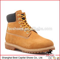 Wholesale Men's Yellow Wheat Ankle Chukka Work Boots Genuine Leather Shoes BC-G001