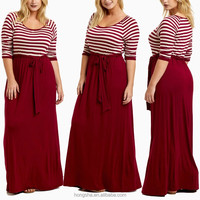 Fashionable Burgundy Striped Top Sash Tie Plus Size Maxi Dress For Fat Women HSd7330