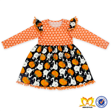 Halloween Pumpkin Pom Pom Dress Girls Boutique Clothing Fall 2016 Children Girl Dress