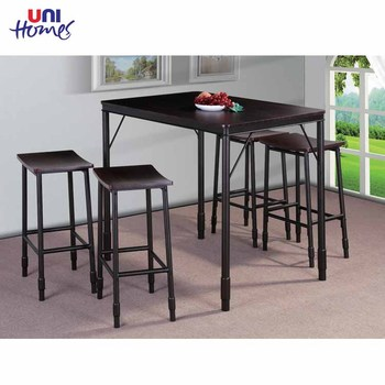 Counter Height Dining Table Set Furniture,Wooden Table Top With Black Pipe Leg for Kitchen Room