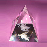 Crystal clear pyramid crystal triangle paperweight for logo laser engraving
