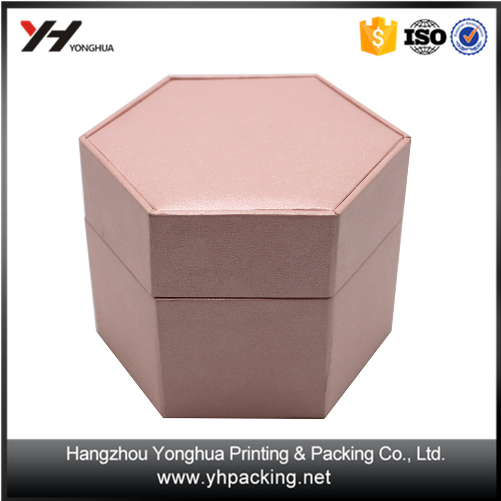 China supplier low cost glossy pink hot stamping for polygon kraft paper gift box
