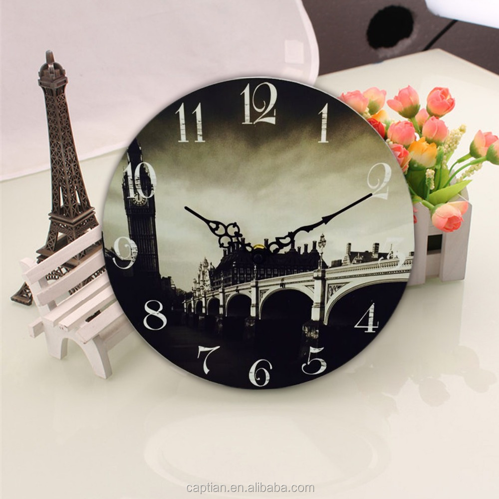classic quartz rhythm wood frame wall clock for living room