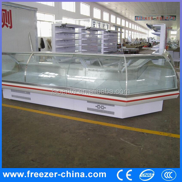 upright deli food serve showcase diaplay chiller large industrial freezer for supermarket