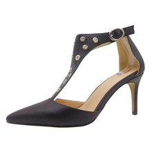 Latest elegant women pointed toe T bar with metal rings black ankle strap high heels pumps shoes