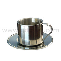stainless steel/metal cup & saucer