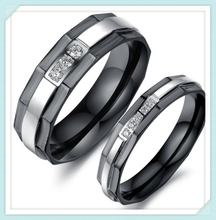 High grade fashion design silver-black color crystal pave stainless steel new model wedding ring