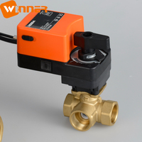 24VAC/DC 0-10V Modulating Proportional Water Flow Control Electric Brass 3 Way DN25 Ball Valve
