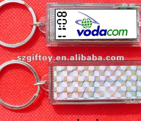 promotional customized flashing lcd solar keychain