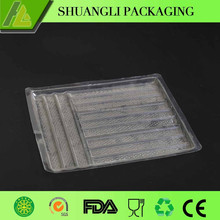 Rectangular clear transparent plastic cookie packaging box with inserts