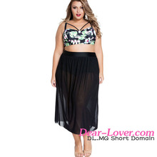 New Stylish Wholesale Boho Tropical High Waist Bikini Swimwear Plus Size Women