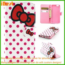 fashion popular dot view leather pc printing wallet case for iphone 6/6s