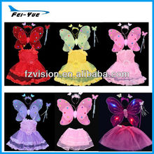 Girls Costume Butterfly Fairy Wings Tutu Set For Kids' Party