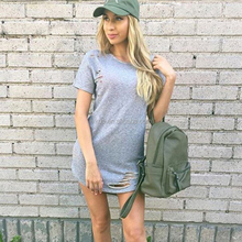 Hot Selling Simple Style Women Grey O-neck Short Sleeves T-shirt Dress