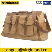 6858 New Stylish Khaki Mulit-purpose Canvas Leather Handles Carry on Travel Bag With Removable One Shoulder Strap