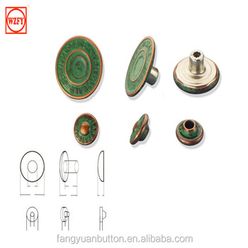 19mm jeans button and rivet with painting green oil effect