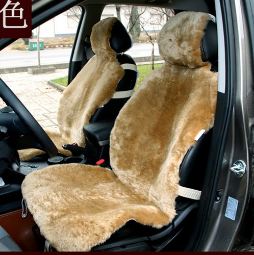 high quality winter warm luxury 100% genuine short wool sheepskin universal car seat cover set 1 piece front seat cover