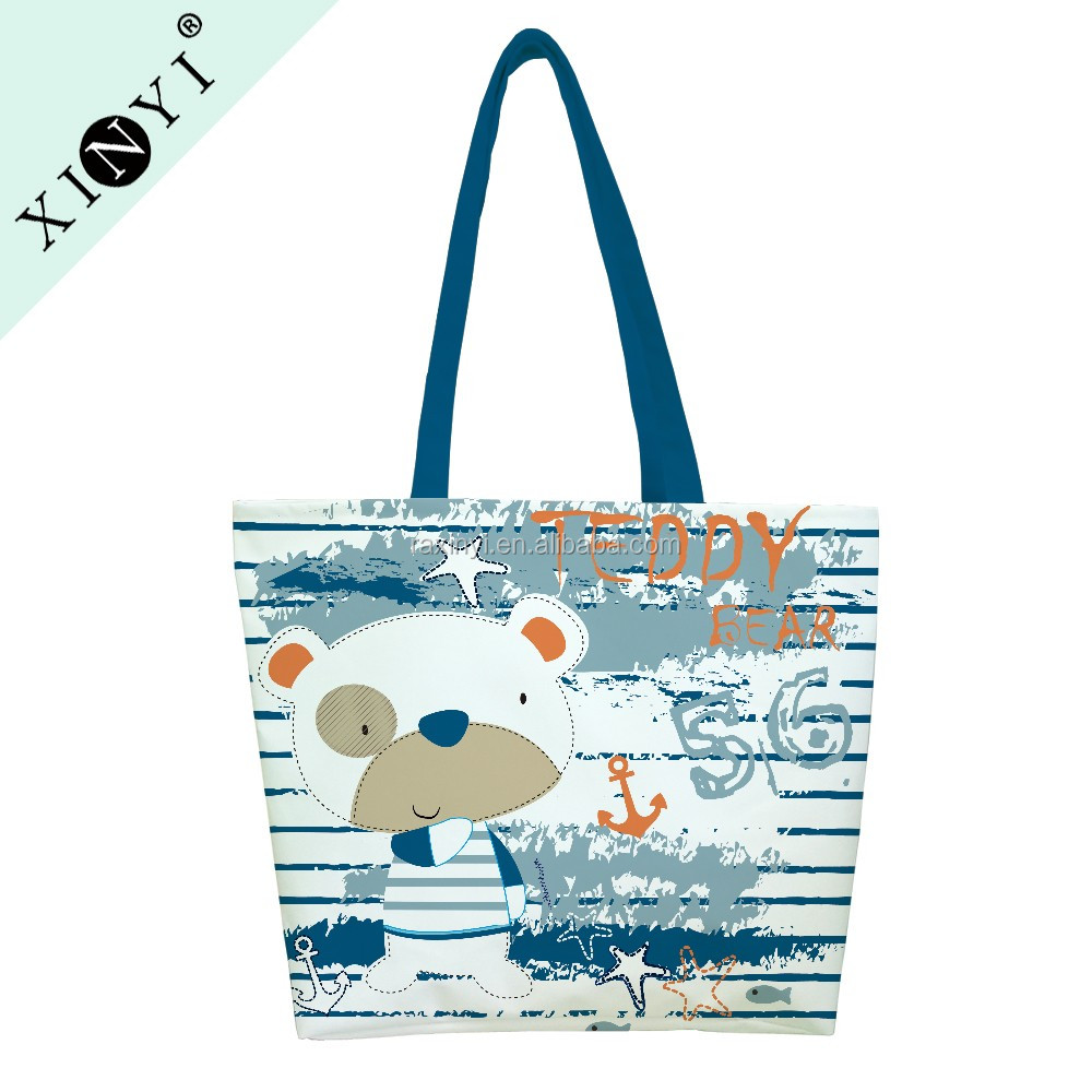 OEM hot selling recyclable cotton canvas travel beach tote bag logo printed folding shopping bag with handle