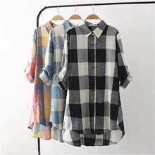 2018 Spring new wholesale fashion ladies check long sleeves shirt loose fitting for women big size