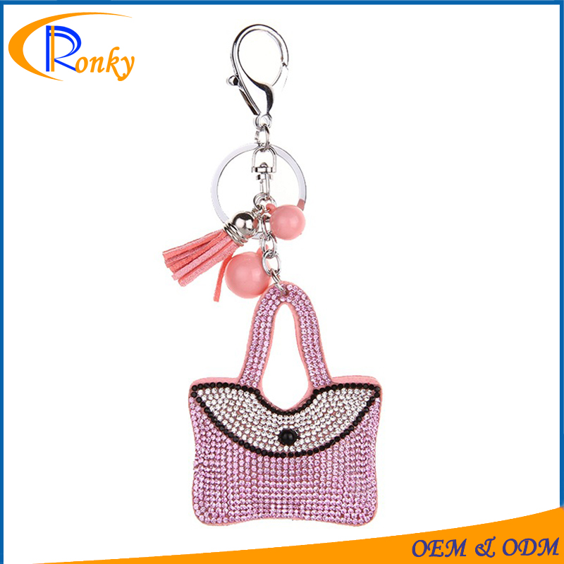 Wholesale alibaba fancy crystal keyrings handbag shaped charms key chain ring