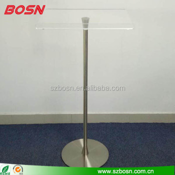 Sleek Lucite Podium with brushed metal finish