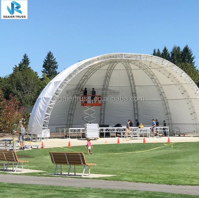 Manufacturer Free Design Aluminum Truss Semi Circle Roof System,Concert Stage Curved Aluminum Roof Truss