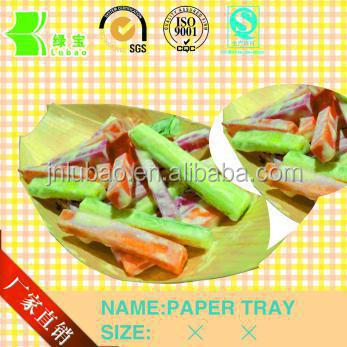 Recycled environmental paper shell or boat tray or plate for fast food