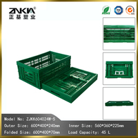 Green Collapsible Plastic Folding Crate for Vegetable and Fruit