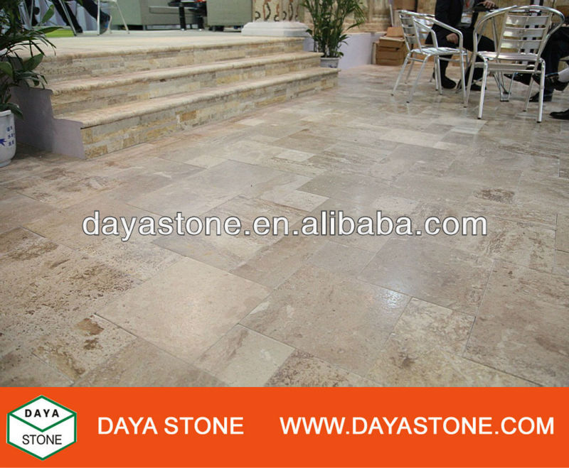 Chinese beige travertine tile pavers / beige travertine