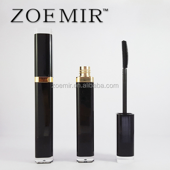 Black square mascara tube acrylic material mascara container for cosmetics