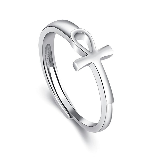 Fashion Jewelry Adjustable Ring With Cross 925 Sterling Silver Ring Sizes 6,7,8