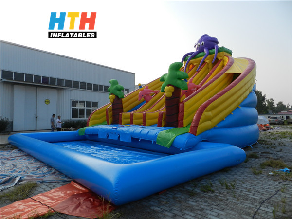 HTH Inflatable water slide with pool for summer sale