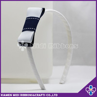 hard plastic headband white ribbon wrapped headband with handmade bow knot
