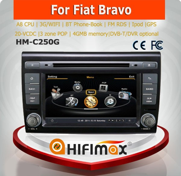 Hifimax car dvd gps navigation system for FIAT BRAVO radio gps fiat bravo WITH A8 CHIPSET 1080P V-20DISC WIFI 3G DVR SUPPORT