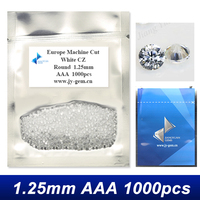 1.25mm AAA White Round Brilliant Cut Synthetic Cubic Zirconia