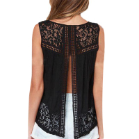 S-4XL Summer Women Chiffon Crochet Lace vest Blouse Shirt Sexy Open Back sleeveless shirt tank tops Black Blusas Femininas 1150C
