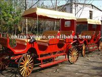 High quality 3-rows sightseeing caravans with covers for sale/Big horse draw carriage for tourism