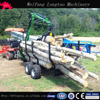 ATV Towable Self Powered Wood Trailer with Crane/Log Trailer with Grapple/Log Loader Trailer