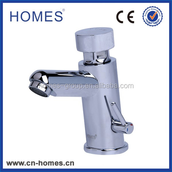 Bathroom sink mixer tap / deck-mounted / chrome-plated brass / self-closing