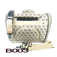 B003 Coach Signature Khaki C Gold Metallic Trim Dog Pet Carrier Bag