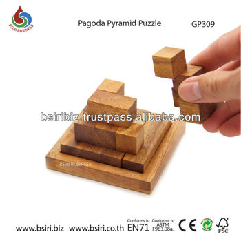 wooden brain teasers Pagoda Pyramid Puzzle