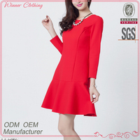 Factory direct manufacture simple but elegant smooth close-fit knee length gaun dress designs