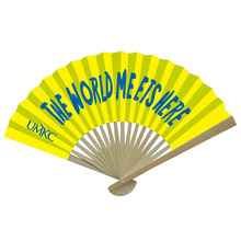 Hot Summer Promotional Custom Folding Paper Single Side Bamboo Hand Fan