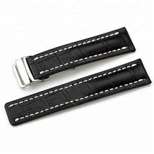 BR-<strong>02</strong> Good Quality Handmade Black leather watch with steel buckle