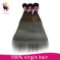 Wholesale virgin Brazilian hair bundles straight hair gray human hair