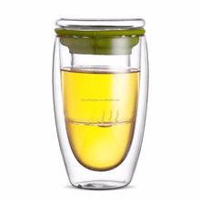 Manual Brief Drinkware Mugs Double Wall Glass for Tea Drinking Egg Cup with Tea Infuser and glass cover