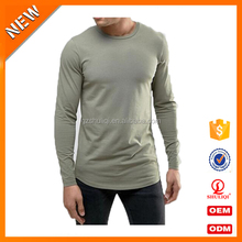 OEM Service long sleeves mens longline shirts /custom t-shirts 80% cotton 20% polyester mens shirts from SHULIQI H-2326
